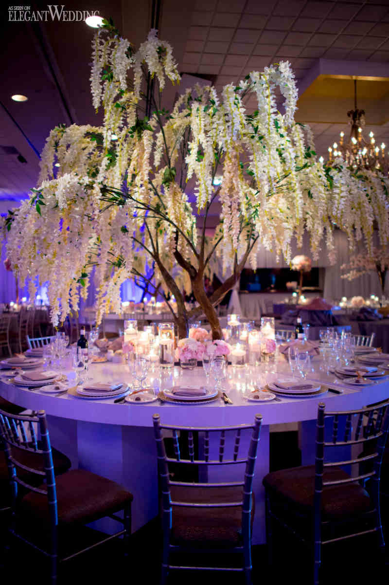 enchanted forest elegant elegantwedding centerpieces decorations reception pink tree magazine table bridal indoors fall centrepieces